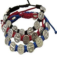 Saint Benedict Evil Protection Medal Adjustable Cord Bracelet Set of 3 8 Inch