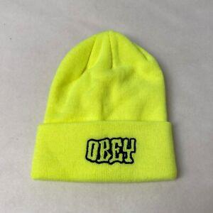 Obey Tall Beanie Runnin Safety Green OSFM NEW Snowboard Ski Winter