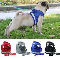 Reflective Dog Harness Leash Nylon Pet Cat Soft Mesh Vest Small Medium Puppy~