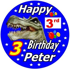 DINOSAUR T REX, PERSONALISED FUN BIRTHDAY BADGE - ANY NAME AND AGE / NEW / GIFTS