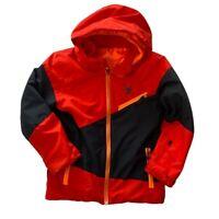 Spyder Boys Red Black Long Sleeve Full Zip Hooded Ski Snowboard Winter Coat 10