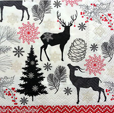 4 Vintage Table Paper Napkins for Decoupage Lunch Decopatch Craft Moose Art W//24