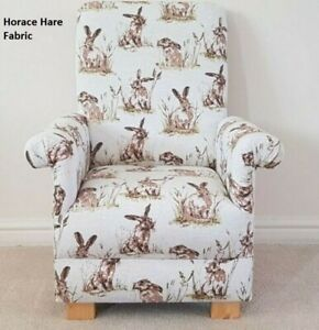 Kids Chair Horace Hare Fabric Children's Armchair Rabbits Watership Down Beige