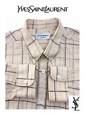 YSL YVES SAINT LAURENT Paris Textured Stripe Stitch Button Down Dress Shirt