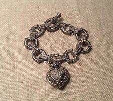 Judith Ripka Sterling Silver Heart Enhancer CZ Citrine Toggle Charm Bracelet