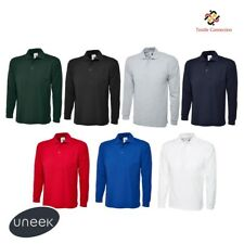 Uneek Men's Plain Long Sleeve Pique Polo Shirt Top Workwear T-Shirt XS-4XL UC113