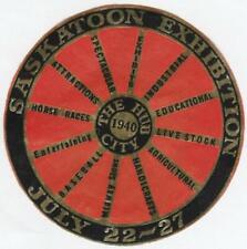 "Saskatoon Exhibition 1940~3"" Unused Seal~Saskatchewan,Canada~Gilt design VG"