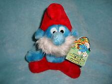 "Papa Smurf Vintage Peyo 1981 Ganzbros Smurf Bean Bag 8"" Plush W/Tags"