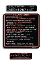 HONDA 1987 '87 ATC250SX ATC 200SX REPRODUCTION WARNING DECALS GRAPHICS