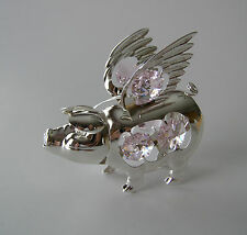 "SWAROVSKI PINK CRYSTAL ELEMENTS ""FLYING PIG"" FIGURINE / ORNAMENT SILVER PLATED"
