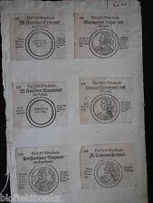12 incisioni antiquario di antiche monete ROMANE? c1725 tedesco & Testo latino
