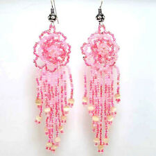 PINK ROSE BEADED FLOWER HANDMADE EARRINGS