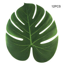 "12x Tropical Imitation Plant Leaves 8"" Hawaiian Party Jungle Beach Theme Decor"