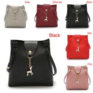 Korean Bucket Crossbody Bag PU Leather Sling Bag Shoulder Handbag Tote Bag Y-qk