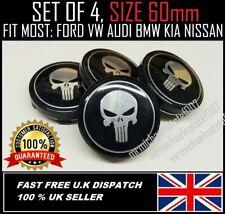 ⭐X 4 PUNISHER ALLOY WHEELS CENTRE CAPS 60mm FORD, SEAT,KIA, HYUNDAI BMW,HONDA⭐