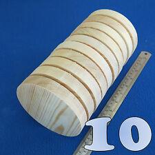 "LOT of 10 CIRCLE 5.0"" / 130 mm WOODEN BLOCKS BUNDLE SET PINE WOOD NATURAL DISCS"
