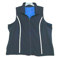 Blue Windbreaker REVERSIBLE Full Zip Vest Womens Sz 4X Mock Neck Pockets 2 Sides