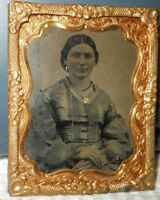 Nice 1/9th size Tintype of young lady in a Brass frame