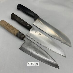 Damaged Lot of three Japanese Chef's Kitchen Knives Vintage From Japan ST229