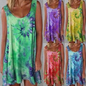 Womens Boho Tie-Dye Tank Dress Summer Beach Holiday Casual Baggy Tunic Sundress