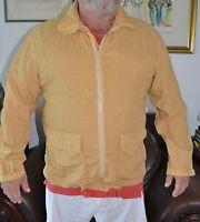Men's LES COPAINS blue eagle linen zipper front shirt size 54 XXL  Italy