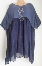 New Italian Lagenlook Blue Silk Bottem Tunic Top dress Size 22 24 26 28 30