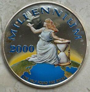 2000 Liberia 50 Dollars - Huge Silver - 1/2 Half Pound Silver Round - Millennium