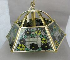 Vintage Kitchen Hall Ceiling Light Pendant Lamp. Mosaic glass shade. 2 available