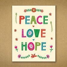10 Christmas Cards Retro Vintage Scandinavian Design PEACE LOVE HOPE - Kirsten