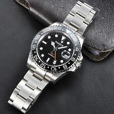 Parnis 40mm GMT Ceramic Bezel Sapphire Glass black dial Auto Date men's  watch P