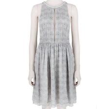 Thomas Wylde Pale Grey Butterfly Print Split-Front Silk Chiffon Dress S UK8 IT40