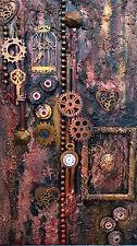 """Acrylbild Collage Viktorianisch Steampunk Industrial Gothic """"Steampunk Minds"""""""