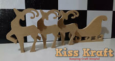 Christmas Reindeers and Sleigh Set - Freestanding Wooden MDF Xmas decoration