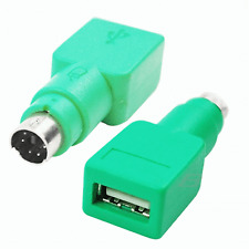 New Green USB PS2 PS/2 Mouse Keyboard Connector Adaptor Adapter 2 #15