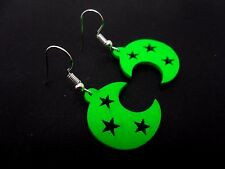 A PAIR OF CUTE GREEN WOODEN DANGLY MOON/STAR FESTIVAL EARRINGS. NEW.