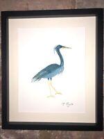 Blue Crane, Heron Original Watercolour Painting, Signed Art Not A Print, Vintage