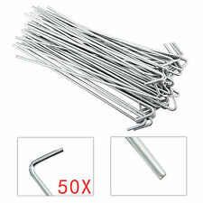 """Pack of 50 HEAVY DUTY DURABLE STEEL METAL 9"""" PEGS HOOKS GROUND TENT CAMPING"""
