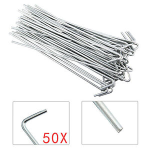 50 x Heavy Duty Galvanised Steel Tent Pegs Metal Camping Ground Sheet Anchor