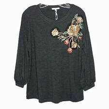 NWT Pleione Women's Sequin Embroidered Floral 3/4 Sleeve Sweatshirt Top Gray M