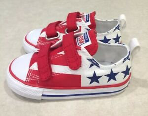 "CONVERSE ""CTAS 2V OX"" Toddler Girl's Red/White/Blue Sneakers~~Size 7"