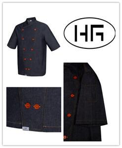 Denim Chef Jacket Short Sleeves Black Uniform Poly-cotton Hospitality Garments