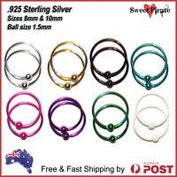 Nose Rings 925 Sterling Silver Bead Hoop Sleeper Earrings Lip Ear Body Piercing