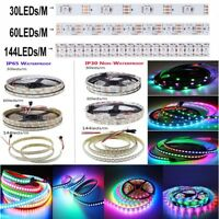 WS2812B 5050 RGB LED Strip 1-5M 30 60 144 150 300 Leds Individual Addressable 5V