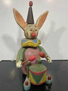 VTG Carved Wood Painted Folk Art Clown Drummer Boy Toy Statue Sculpture
