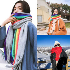 Women Winter Cashmere Double Sided Scarf Tassel Rainbow Shawl Wraps Thick Stole