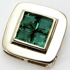 Beautiful 9ct Yellow Gold Square Created Emerald Gemstone Pendant,Great Gift