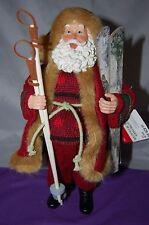 """Skiing Santa 11"""" plastic Figurine knit and felt clothes with skis with tag!"""