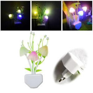 Romantic LED Night Lights Mushroom Light Sensor EU Plug-in Wall Lamp Home Decor