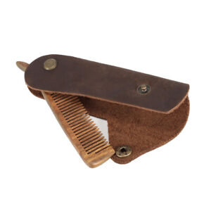 Portable Mens Mustache Pocket Folding Leather Wooden Beard Grooming Hair Combs