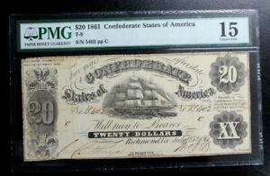 T-9 CONFEDERATE STATES OF AMERICA $20 1861 PMG 15 CHOICE FINE PRICED QUICK SALE
